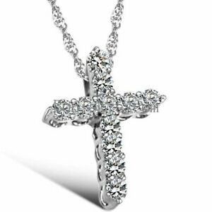 Full Rhinestone Paved Cross Pendant Necklace Christmas Gift For Women's Ladies