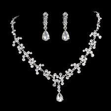 Rhinestone Crystal Drop Bridal Necklace Earrings Crown Jewelry Set For Wedding