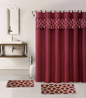 4PC BURGUNDY GEOMETRIC BATHROOM SET BATH MATS SHOWER CURTAIN FABRIC HOOKS