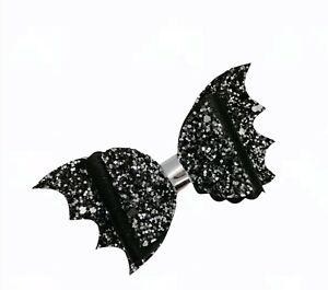 "Handmade 3.5"" Halloween Glitter Bat Hair Clip Black Halloween Hair Clip Bow"