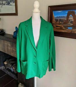 Pendleton Plus Women's 3X Kelly Green Knit Blazer Jacket Pockets Button Front