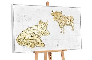 YS-Art M.Julinski Acryl Gemälde Goldene Kühe Handgemalte Bilder Leinwand MJ010