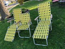 3 Vintage Lawn Beach Portable Chairs Aluminum Webbed Woven Yard Folding Lounge