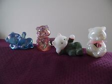 Fenton Bears Set of 4 Painted Satin, Textured, Iridescent, Pearl, Excellent