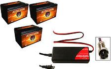 BC3602M CHARGER + QTY 3 VMAX64 AGM 12V 15Ah Batteries for 36V Razor MX500 MX650