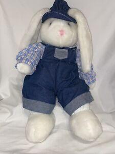DanDee Bunny Rabbit Denim Overalls Flop Eared Plush Stuffed Train White Soft