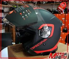 Origine Helmets VISIERA LUNGA  Casco Jet Palio Flow 2.0,Nero/Arancione, M 57/58