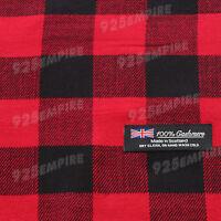 Men's 100% CASHMERE Red/Black Square check tartan Plaid Scarf MADE IN SCOTLAND