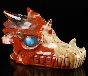 """5.1"""" RED JASPER Carved Crystal Dragon Skull & Labradorite Eyes"""