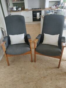 Pair Of Cintique Wool Easy Chairs