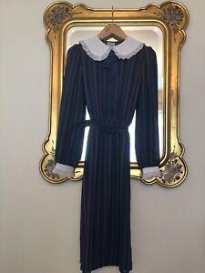 VINTAGE 1980, Princess Di Style Pinstripe WHITE COLLAR & CUFFS Dress SIZE 12