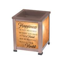 Happiness Heart Copper Tone Metal Electrical Wax and Oil Glass Lantern Warmer