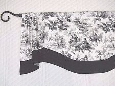 FRENCH COUNTRY~COTTAGE~TOILE~Black~Gray~White~Dot~Valance~Curtain~Window~TOPPER