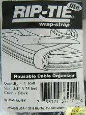 "Rip-Tie Lite Wrap Strap W-75-MRL-BK 3/4"" x 75ft Reusable Cable Organizer 26-4"