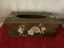 RECTANGLE DARK PINE WOOD HAND PAINTED FLORAL DESIGN TISSUE BOX COVER