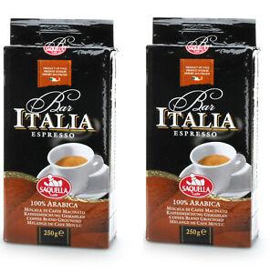 2x250g Saquella 100% Arabica Ground Coffee