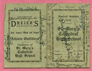 TRENTON NJ 1932 ST. MARY'S CATHEDRAL HIGH SCHOOL FOOTBALL SCHEDULE w/ SIGNATURES