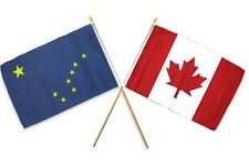 "12x18 12""x18"" Wholesale Combo Canada Canadian & State Alaska Stick Flag"