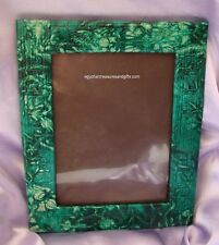 Egyptian LEATHER Photo Frame -  Embossed with Hieroglyphics - GREEN