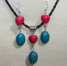 RED HEART & BLUE TURQUOISE STONES ON BLACK  CORD NECKLACE & EARRINGS  handmade