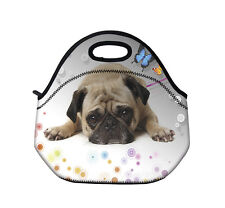 Cute Pug Insulated Thermal Lunch Bag Tote Portable Lunch Box/Picnic Bag Soft Tot