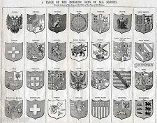 STEMMI: REGNO DI NAPOLI E DUE SICILIE,SARDEGNA,TOSCANA,STATO PONTIFICIO. C.1850