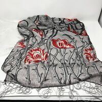 Womens Rectangular Scarf with Fringes Gray Red Silver Floral Sheer Mesh Areas