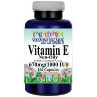Vitamin E 1000 IU (non oily) Dl-Alpha Tocopheryl Acetate/Tocopherols 200 Caps