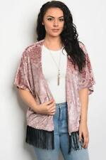 NEW..Stunning Plus Size Pink Cut Out Velvet Cardi Cover Up Kimino..SZ16-18/1XL