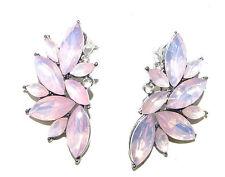 Pink Silver Faux Opal Earrings Stud Drop Vintage Style 1920s Great Gatsby 979