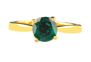 14KT Gold & Round Cut 1.00Ct AA Natural Zambian Emerald Solitaire Women's Ring