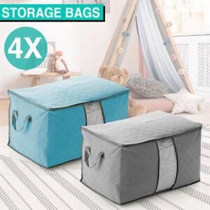 4X Large Clothes Quilt Blanket Storage Bag Fabric Home Organizer Zipper Box Bags