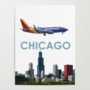 """Southwest Airlines 737 (New Colors) Over Chicago Art - 18"""" x 24"""" Poster"""