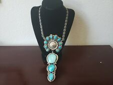 MASSIVE NATIVE AMERICAN (NAVAJO?) STERLING SILVER TURQUOISE NECKLACE