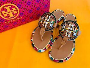 Tory Burch NIB ENAMEL MILLER Flat Thong Sandals Vachetta Leather Sz 5, 9