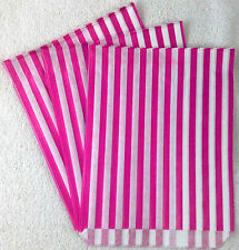 """100 X 7"""" x 9"""" Pink Candy Stripe Paper Sweet Bags Retro"""