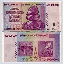 ZIMBABWE 500 MILLION DOLLARS 2008 circulated VF.        [10 20 50 100 TRILLION]