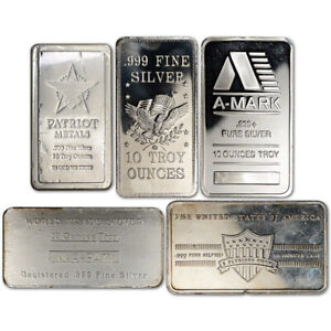 10 oz. Silver Bar - Random Brand - Secondary Market - .999 Fine