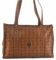 Authentic MCM Cognac Visetos Leather Vintage Shoulder Tote Bag Brown  B8093