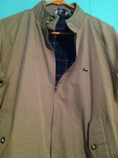 Vintage Lacoste Izod Harrington Beige Plaid Lined Full Zip Jacket Size Large