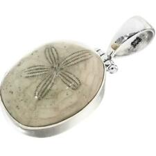 """1 3/8"""" FOSSIL SAND DOLLAR 925 STERLING SILVER pendant"""