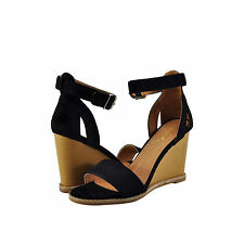 3f25f83363e Women s Shoes Qupid Finley 01 Open Toe Ankle Strap Stacked Wedge Black  New