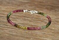 Natürlicher Wassermelone-Turmalin Edelstein Perlen Armband 925 Silber Verschluss