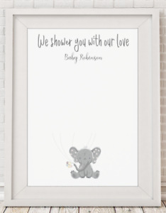Personalised Shower With Love Keepsake Baby Shower Gift Poster Print A4 PR88