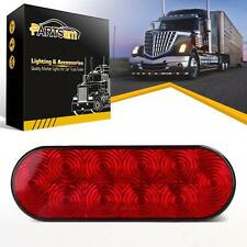 """Red 6"""" Oval LED 10 Diodes Stop Turn Tail Brake Light Trailer Truck Surface Mount"""