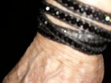New Auth Chan Luu Black Crystal Five Wrap Bracelet on Black Leather
