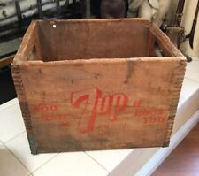 Vintage 7 UP You Like It It Likes You Wooden Dovetail Wood Soda Pop Bottle Crate