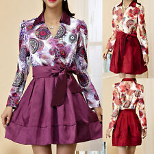 V-Neck Long Sleeve Mini Floral Dresses for Women