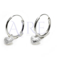 1d617b62f 925 Sterling Silver Stunning Sleeper Style Hoop Earrings with Frosted Heart