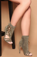 Womens Ladies Ankle Boots High Heel Stilettos Buckle Lace Up Casual Shoes SZ